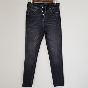 & Denim skinny ankle high waist jeans